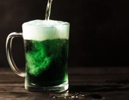 Pint dyed green in Irish bar in Glasgow