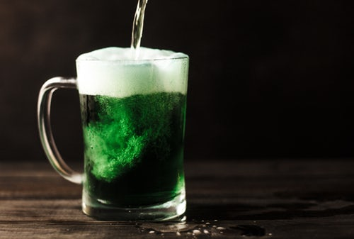 Pint dyed green in Irish bar in Glasgow